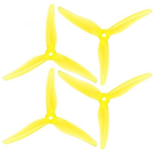 4 Pezzi RC Drone Elica Tri-Blade Durevole 3-Pala Elica 5.1 Pollici Accessorio per RC Drone FPV Racing Stabilità ( Color : Yellow )
