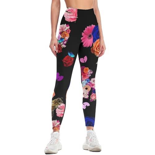 QTJY Pantalones de Yoga Florales para Mujer, Mallas de Yoga de Gimnasia Retro de Cintura Alta, Pantalones de chándal de Entrenamiento de Celulitis Ajustados elásticos K XL