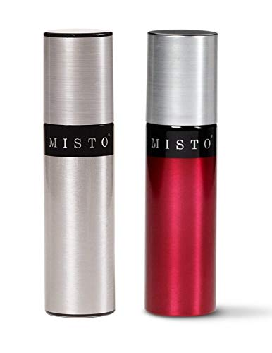 Misto Aluminum Bottle Oil Sprayer, Brushed Aluminum and Red Tomato, Set of 2