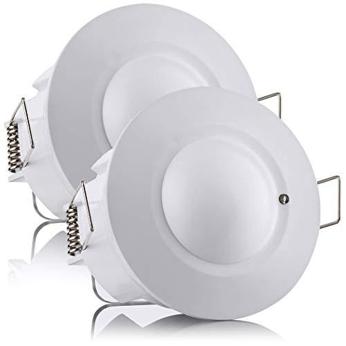 SEBSON® Bewegungsmelder Innen, Unterputz, HF Sensor LED geeignet, Decken Montage programmierbar, Bewegungssensor Reichweite 2-16m/ 360°, 2er Pack