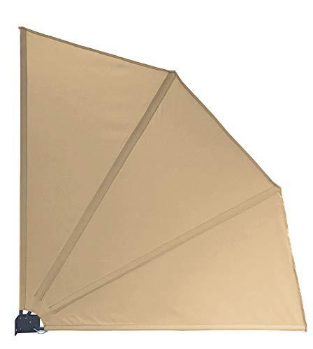 QUICK STAR Sichtschutz Fächer Premium 140x140cm mit Schutzhülle Stoff Balkon Trennwand Windschutz Sonnenschutz Sand