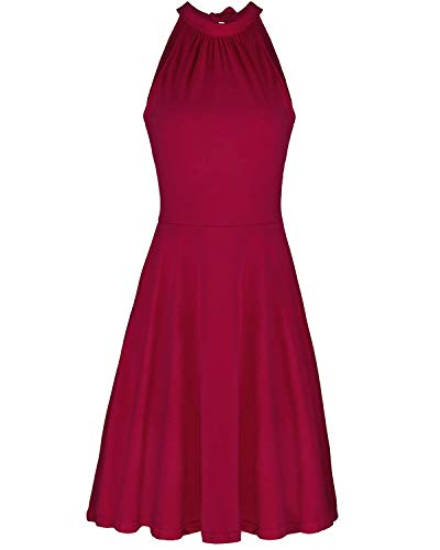 OUGES Women's Stand Collar Off Shoulder Sleeveless Cotton Casual Dress(Wine,M)