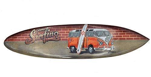 Interlifestyle Tabla de Surf Aus Madera Dura 100cm con VW Bus como Decoración Tabla de Surf en el Pincel Look