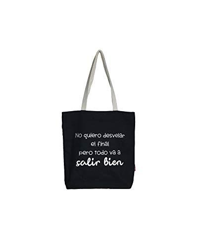 Hello-Bags Bolso Tote. Algodón 100%. Negro. con Cremallera, Forro y Bolsillo Interior. 37 * 38 cm + (asa: 28 cm). Incluye sobre Kraft de Regalo