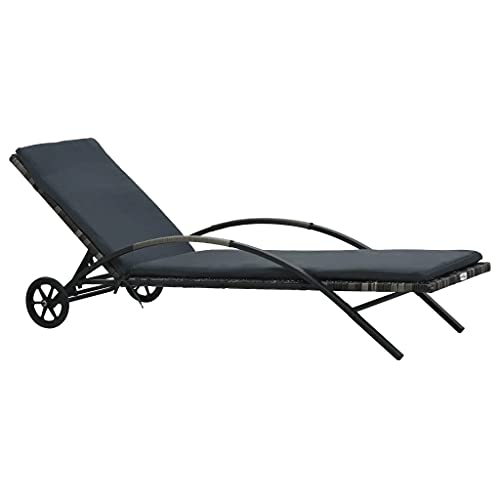 vidaXL Chaise Longue avec Coussin et Roues Chaise Longue de Jardin Chaise Longue de Camping Chaise Longue de Patio Piscine Résine Tressée Anthracite
