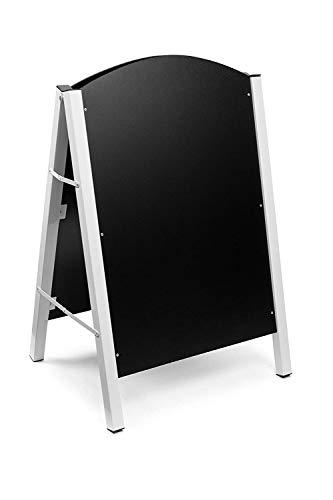 Alpine Industries Steel Double Sided Standing Menu Board - Chalkboard Sign - Sandwich Memo Board - Chalk Included (White)