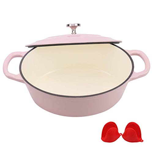 Premium Enameled Cast Iron Oval Dutch Oven, Bread Baking Pot with Lid, Non-Stick Slow Cook Self, Matte Black Enamel Coating Finish Interior,Pink