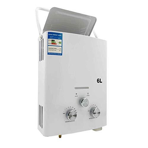 Cozyel 6L Gas-Durchlauferhitzer Propangas-Warmwasserbereiter, 6 l, tragbar, Tankless Instant - Camping-Gasdusche für den Außenbereich mit Edelstahl Duschkopf