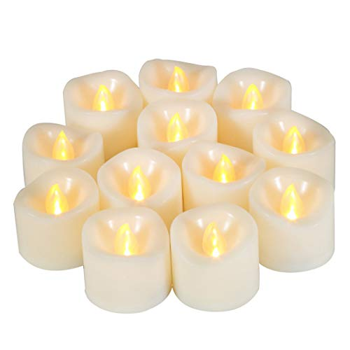 12 PCS LED Flameless Flickering Tea Lights Candle Battery Operated/Electric Flicker Tealights Bulk Small LED Candles for Xmas, Party, Festival, Christmas Decorations etc (Batteries Included)
