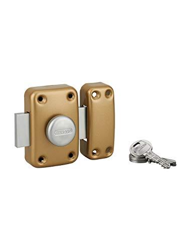 Extra deurvergrendeling voor toegangsdeuren met knop en cilinder, 45 mm, gelakt, 3 sleutels