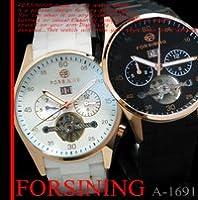 【ケース・保証書付き】ラバーテイスト 自動巻き DAY&DATE ビッグフェイス 腕時計☆A-1691