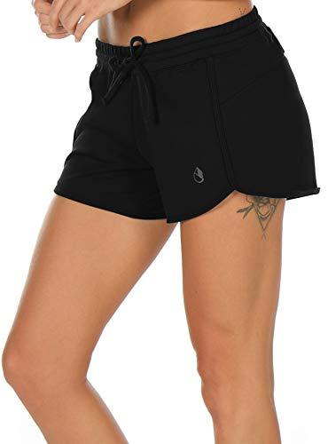 icyzone Damen Sport Shorts Sommer Kurze Hose Hot Pants Laufshorts Baumwolle (S, Schwarz)