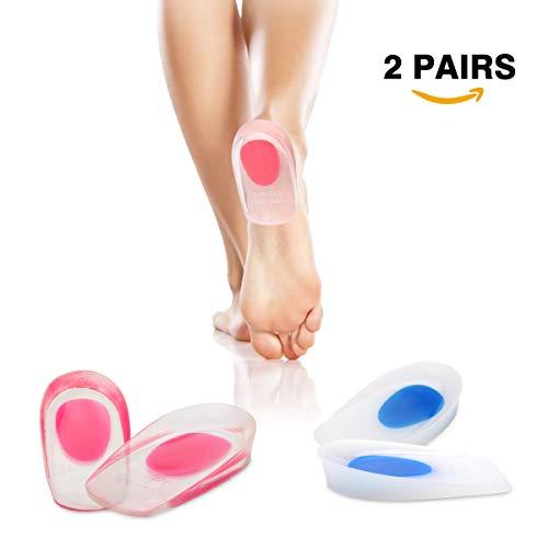 Gel Heel Cups Plantar Fasciitis Inserts HLYOON Silicone Gel Heel Pads 2 Pairs Shoes Inserts Protectors for Heel Pain Heel Fasciitis Bone Spurs (S)
