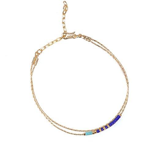KELITCH Double Strand Seed Bead Bracelet Gold-Plated Chain Bracelet for Wommen, 41