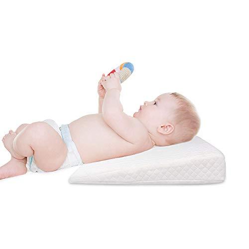 Almohada para Cuna con Cuña, Almohada para Dormir para Bebés, Cuña, Almohada para Reflujo, Almohadilla para La Cama, contra Reflujo Y Congestión Cólica con Espuma Viscoelástica