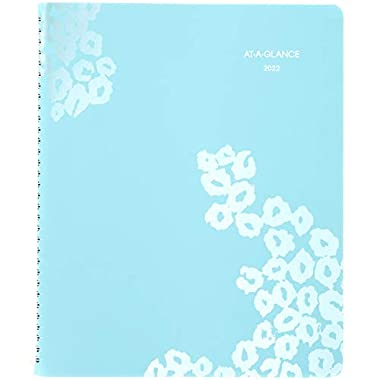 2022 Weekly & Monthly Appointment Book & Planner by AT-A-GLANCE, 8-1/2″ x 11″, Large, Wild Washes Teal (523-905)