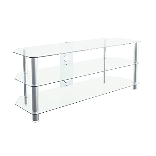 """mahara Glass TV Stand for HD LED LCD 4K 8K QLED TVs up to 60"""" inch by TV Furniture Direct (125cm, Clear Glass, Chrome Leg)"""