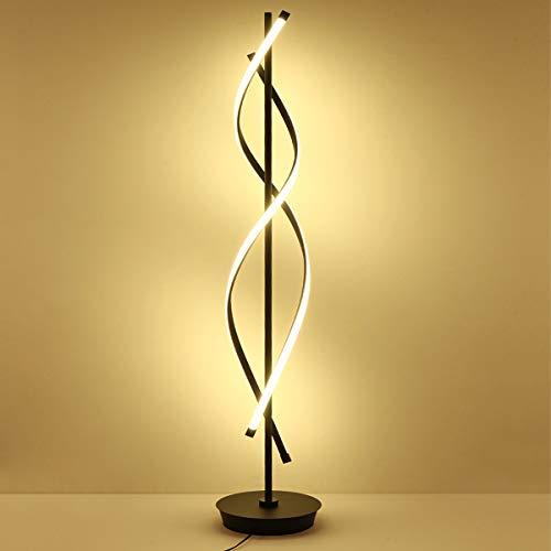 LED Stehleuchte Dimmbar, Schlafzimmer Stehlampe, Wohnzimmerlampe mit Fernbedienung, Augenschutz Leseleuchte, 2-flammig, Geschwungen, mit Schalter, 64 Watt, Schwarz, Höhe 153cm