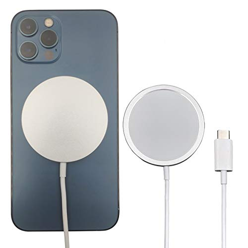 YUNZHI Cargador Inalámbrico Magnético, Cable de 60cm, Almohadilla de Carga Inalámbrica Rápida para iPhone 12/12 Mini / 12 Pro / 12 Pro/MAX AirPods Pro 2