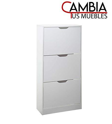 CAMBIA TUS MUEBLES - Mueble Zapatero VIC 3 Puertas, Gran Capacidad de almacenaje, Color Blanco