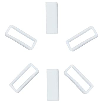 KHZBS Rubber Silicone Watch Band Strap Loops Keeper Holder Retainer with Tool Included  6 Packs 20mm White