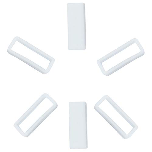 KHZBS Rubber Silicone Watch Band Strap Loops Keeper Holder Retainer with Tool Included (6 Packs 20mm White)