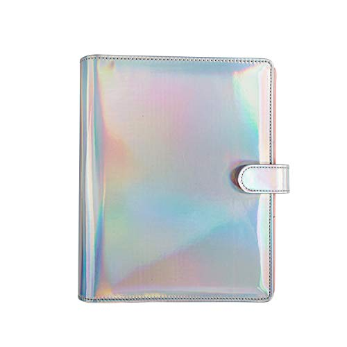 IDEO Multi-Pocket Organizer,Ring Binder Refillable Diary Notepads with Hologram Cover for Business Office School Stationery,9.45'' x 7.87''(Paper Size 8.27'' x 5.9'')