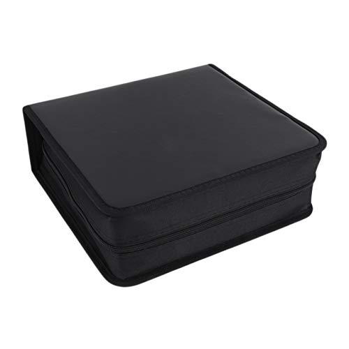 Disco CD DVD Soporte de almacenamiento Estuche de cuero PU Estuche de transporte Bolsa Organizador Solución Carpeta Fundas para libros Bolsa de transporte - Negro