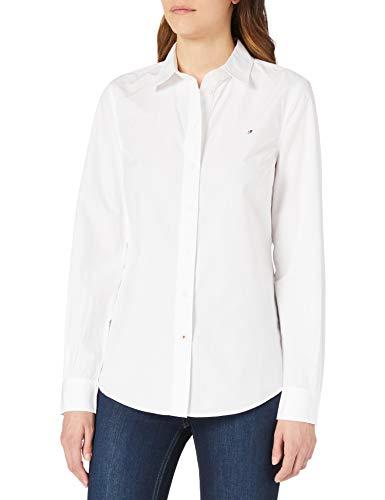 Tommy Hilfiger ORG Cotton Regular Shirt LS Camisa, Blanco, 40 para Mujer