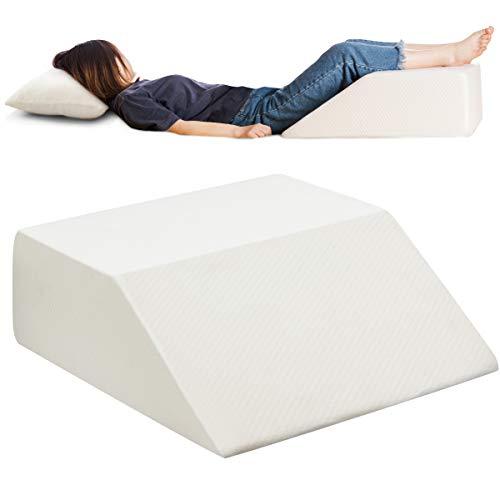 RELAX4LIFE Beinkissen, Beinhochlagerungskissen mit hoher Elastizität, ergonomisches Venenkissen für Rücken & Taille & Beine, bequemes Fußkissen mit waschbarer Schale, 60x54x20 cm, Relaxkissen weiß