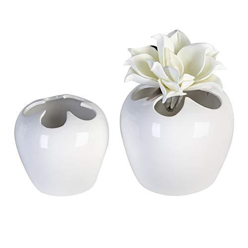 Casablanca Vase Flower Weiss glasiert,KeramikH.14cm