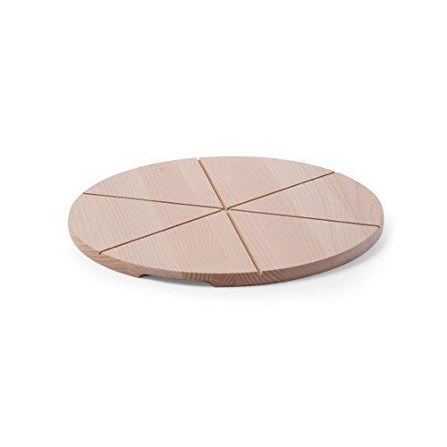 HENDI Pizzabretter, Aus Buchenholz, Buchenholz, Flammkuchenbrett, Brotschaufel, Pizzaschaufel, mit Rillen zum Schneiden von 6 gleichgroßen Stücken, ø350mm