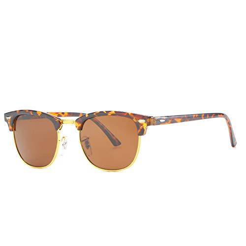 HDSJJD Hombres Y Mujeres Moda Gafas De Sol Polarizadas Retro Medio Marco Conducción Clásica Al Aire Libre UV400,F