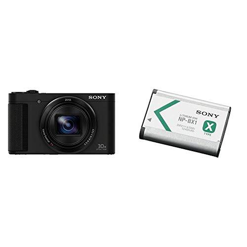 Sony DSC-HX90 Kompaktkamera (30x Opt. Zoom, 60x Klarbild-Zoom, 7,5 cm (3 Zoll) Display, 5-Achsen Bildstabilisator, Full HD Video) schwarz & NP-BX1 Li-Ion Akku (Typ X, 3,6V, 1240mAh) für Cyber-Shot