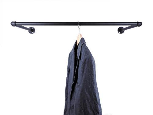 Garderobe Metall, Breite 60, 90 oder 110cm, schwarz oder raw, für Kleiderbügel, Wandbefestigung im Industrial Design Wandgarderobe Kleiderstange