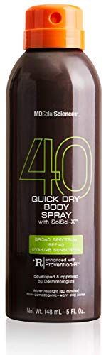 MDSolarSciences Quick Dry Body Spray SPF 40   Non-Greasy, Fast-Drying Sunscreen Provides 80 Minutes of Water-Resistant Broad Spectrum Sun Protection