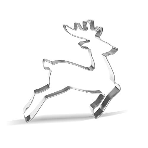 5.1 inch Leaping Reindeer Cookie Cutter – Stainless Steel