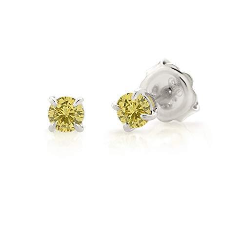 Orecchini punto Luce In Argento 925 e Lab-created Gems diametro 4.00 mm, Annaratone Jewelry