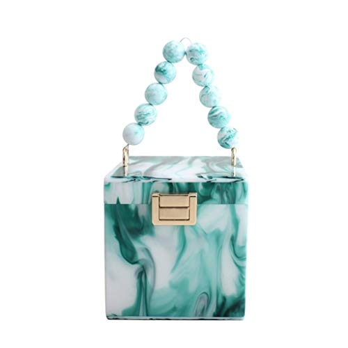 Guilin Evening Bag Gift Box Shape Women Acrylic Party Clutch Evening Tote Wedding Handbag Purse Light Green