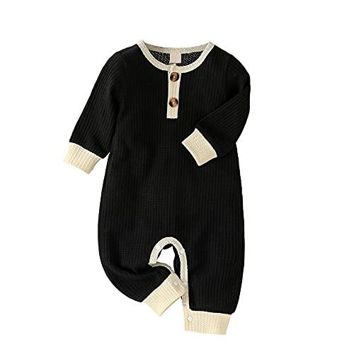 Mono de manga larga para recién nacido, unisex, con botones, para bebé, niña, de 0 a 24 m, Negro, 0-6 meses