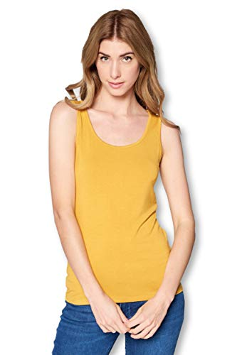 Solid Extra Soft Bamboo Sleeveless Tank Top Undershirt for Women- Made in USA (Small, Mustard)