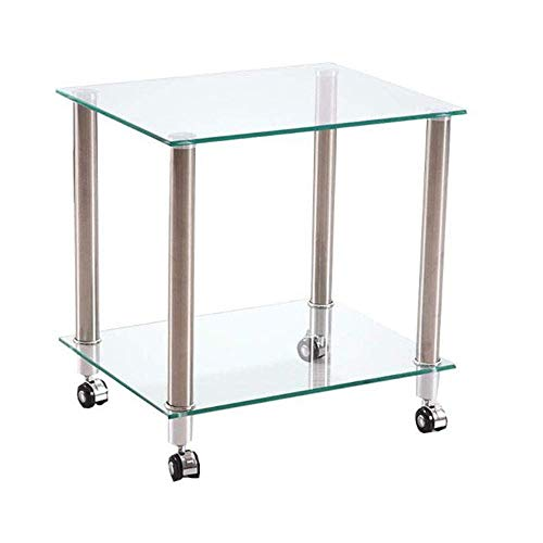 NBVCX Furniture Decoration Computer Desk Side Table Black Glass TV DVD Player with Wheels Mobile 2 Tier Cart for All Workstations 50X40X53CM Black
