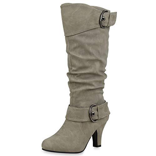SCARPE VITA Elegante Damen Stiefel Warm Gefütterte Winter Boots Schuhe165425 Hellgrau 40