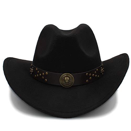Rongjuyi Sombreros de Vaquero Gorras de Viaje para Mujeres Gorras de Hombres Sombreros Western Cowgirl Cowboys Sombreros Unisex de Fieltro Gorra de Jazz (Color : Negro, tamaño : 56-58CM)