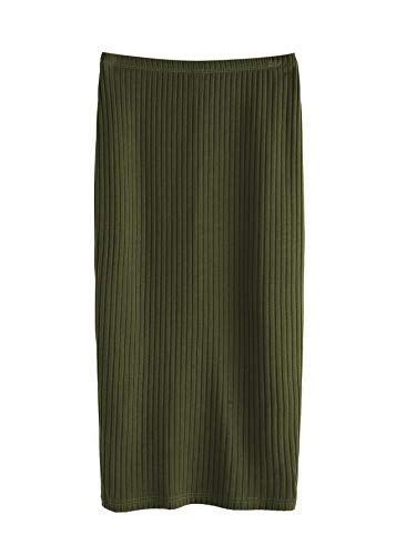 SheIn Women's Basic Plain Stretchy Ribbed Knit Split Full Length Skirt Army Green Medium