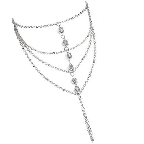 Suyi Elegant Crystal Finger Ring Bracelet Attached Link Hand Harness Bangle 6 Rhinestone