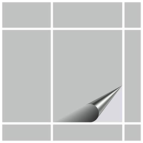 FoLIESEN Fliesenaufkleber Küche u. Bad-15x20 cm matt-15, PVC, Hellgrau matt, 15 Stück, Einheiten