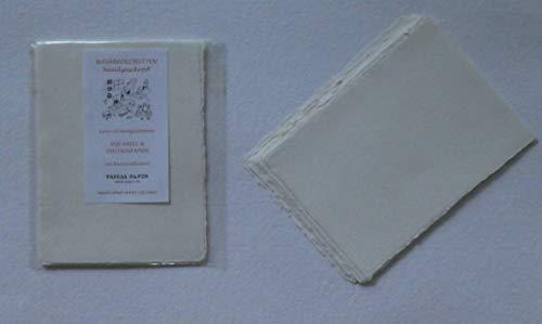 handgeschöpftes Büttenpapier Aquarellpapier A6 10 Bogen/Set warmweiß/offwhite 200g/m² BaumwollLinters handmade cottonpaper (1)