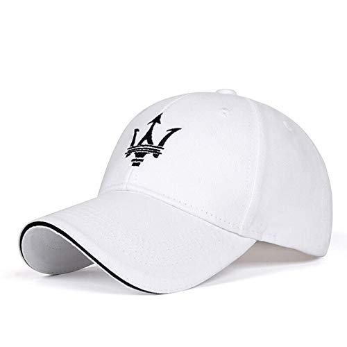 Funsport White Baseball Hat Adjustable Car Logo Cap,Unisex Hat Travel Cap Car Racing Motor Cap for Car Accesssories (Fit Maserati)