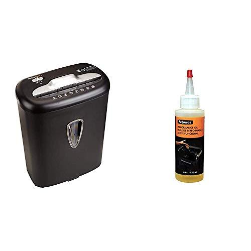 Fellowes 3505006 - Aceite lubricante para destructoras de papel de 120 ml, transparente & Amazon Basics - Trituradora de corte cruzado para tarjetas de crédito y papel, para 8 hojas